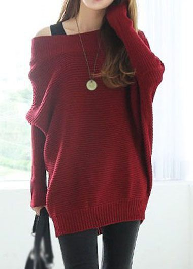 Boat Neck Wine Red Long Sleeve Sweater on sale only US$34.39 now, buy cheap Boat Neck Wine Red Long Sleeve Sweater at lulugal.com