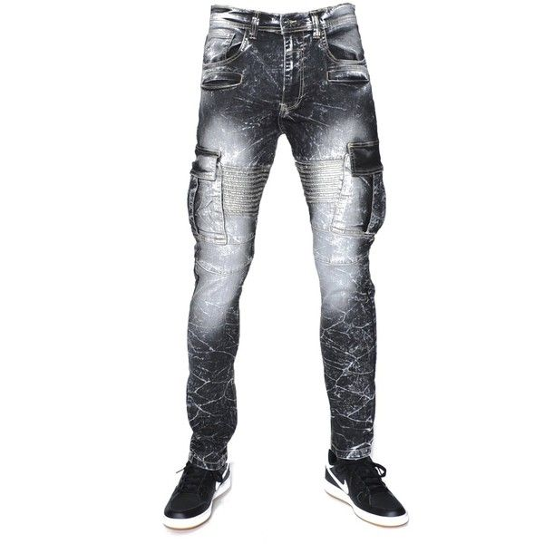 URBANMANIA Men's Hipster Hip Hop Biker Style Cargo Pocket Denim Jean... ($20) ❤ liked on Polyvore featuring men's fashion, men's clothing, men's jeans, mens biker jeans, mens jeans and mens cargo pocket jeans
