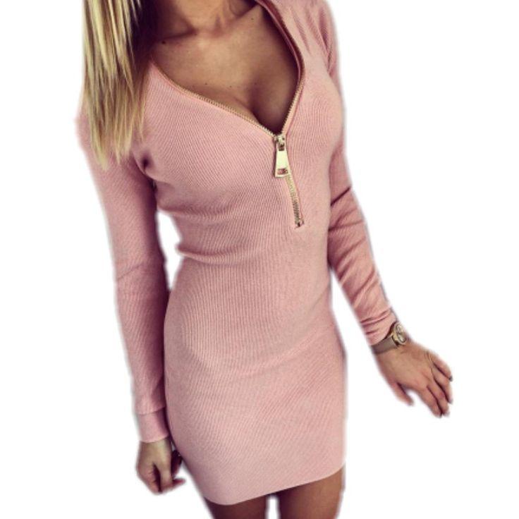 2017 Pack hip elasticity knit dresses sweater zip sexy v neck mini women long sleeve bodycon dress pattern vestidos de novia H12 #Affiliate