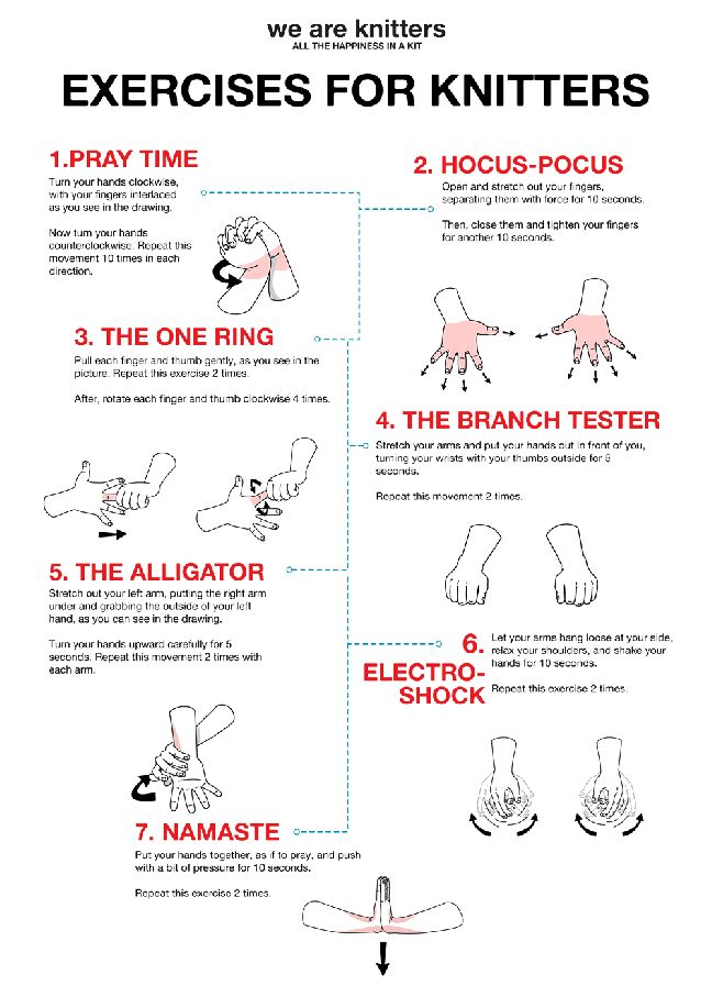 Oefeningen voor breisters en haaksters om brei-en haakblessures te voorkomen. Heel leuk Klik op deze pin en de oefeningen worden voor gedaan.
