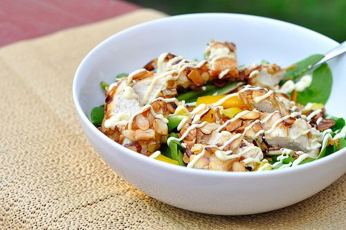 Another hot day, another evening of kitchen avoidance. With leftover goodies from our Sesame Chicken Lettuce Wraps, we threw together a light and creamy salad of almond-crusted chicken and honey...