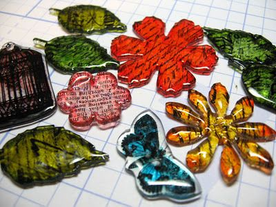Shrink plastic embellishments: a whole new use for stamps, punches, and dies.
