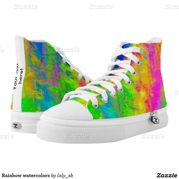 Rainbow watercolors printed shoes