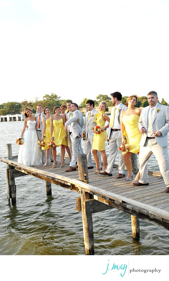 Yellow and Grey weddingWedding Parties, Gray Wedding, Yellow Wedding, Bridesmaid Dresses, Grey Weddings, Colors Combinations, Wedding Colors, Bridal Parties, Lights Grey Suits