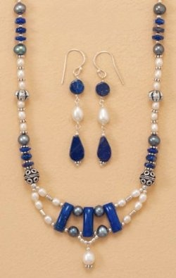Amazon.com: Sterling Silver Necklace ONLY, Lapis Lazuli, Cultured White/Peacock Pearls, 16+1.5inExt.: Jewelry