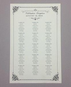 Printable vintage wedding seating chart in 10 colors | Download & Print