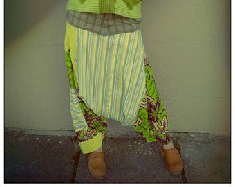 Upcycled Lime Green African print,Corduroy & Striped Cotton Shirt Harem Pants         ReMade in England UK