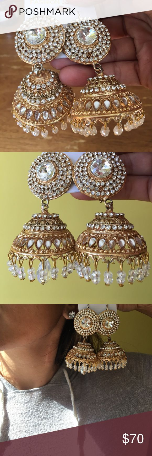Gold and crystal statement Indian big earrings Gold and crystal rhinestone and Kundan statement bridal Indian big earrings jhumkas. Bought from a boutique in pakistan. Price is firm. Jewelry Earrings