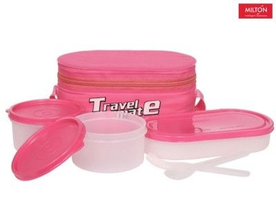 Milton Plastic 3 Containers Lunch Box (400 ml) (Dark Pink) Buy Online Best Price