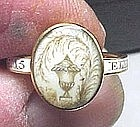 AMERICAN REVOLUTIONARY WAR ERA ENAMEL MOURNING RING   Estate Jewelry: Gold: Pre Victorian: Pre 1800   item# 624003,e & h tobin antiques  18th century mourning ring - the approximately 9 X 11 mm top is a crystal with an urn and willow in hair -- the band is white enamel it says ELIZ: WICKHAM: O.B:10 MAR:1775:AE:15- Some minor scratching to the crystal and enamel - ring size about 4 1/2