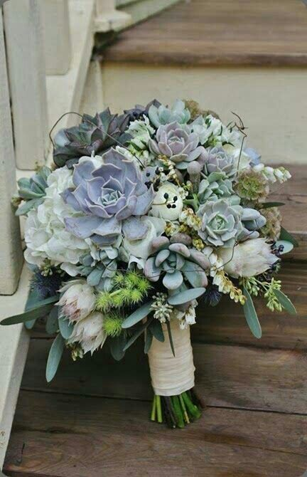 Wedding Bouquet Featuring: White Ranunculus, Blushing Bride Protea, White Hydrangea, Blue Eryngium Thistle, Green Thistle, White Andromeda, Several Varieties Of Succulent, Scabiosa Pods & Green Seeded Eucalyptus••••