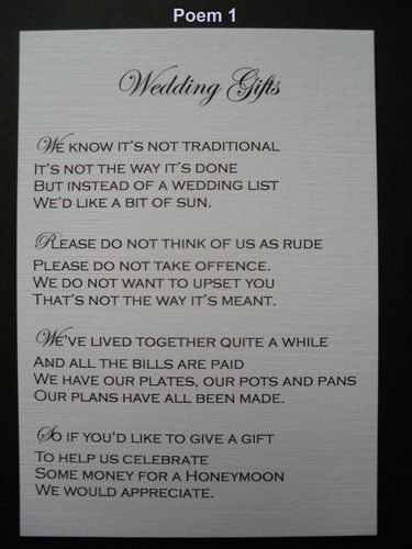 No Wedding Gift List Poem : ... Wedding, Wedding Invitation, Gift Poems, Gifts Perfect, Wedding Gifts