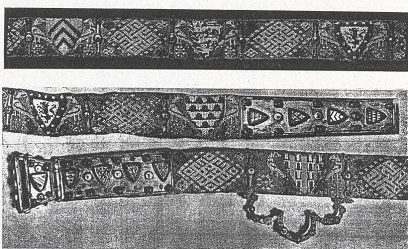 Belt of Fernando de la Cerda, 13th Century, silk, two brocaded bands sewn back to back. Detailed heraldry. The metal buckle and belt-end, decorated with more emblazons, are riveted to the belt.