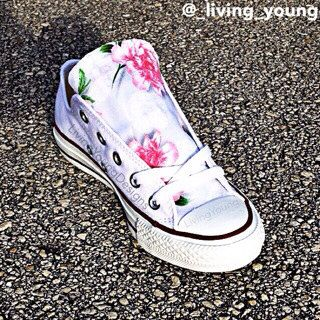 Floral Converse Shoes / Boho Light Pink Floral Chucks