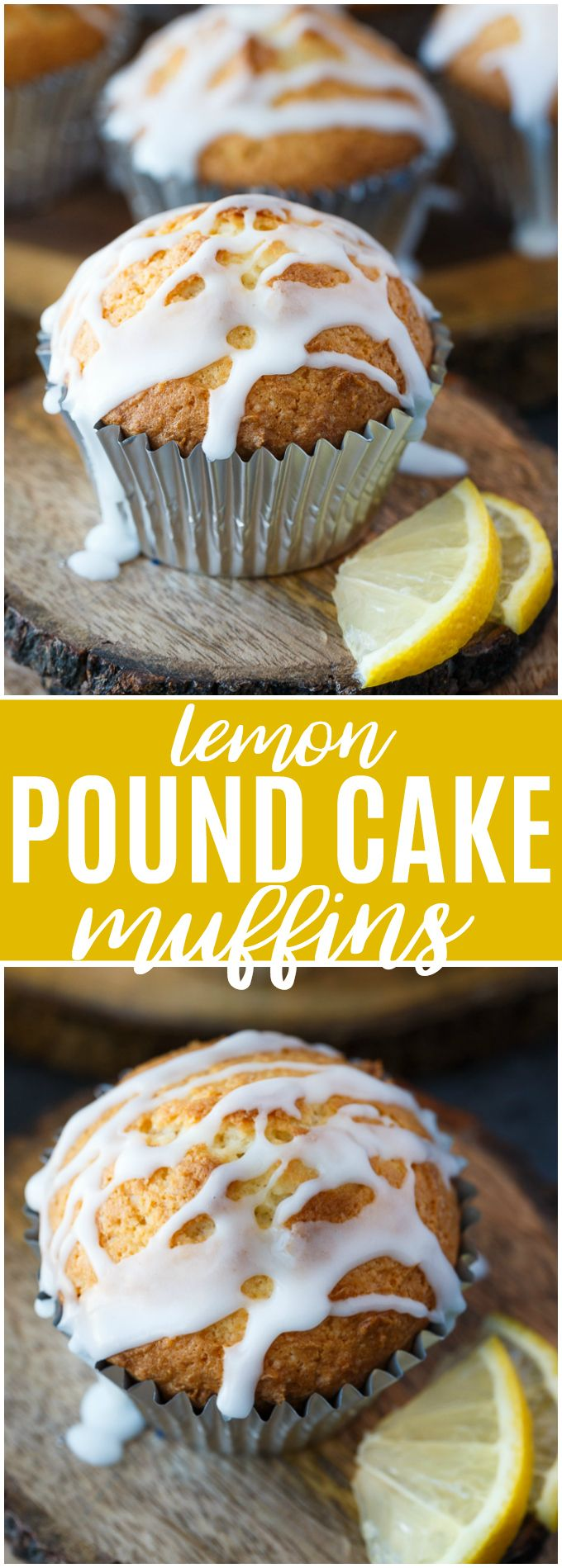 Lemon Pound Cake Muffins - The perfect accompaniment to your morning coffee! These muffins are dense and moist and drizzled with a sweet, tangy lemon glaze.