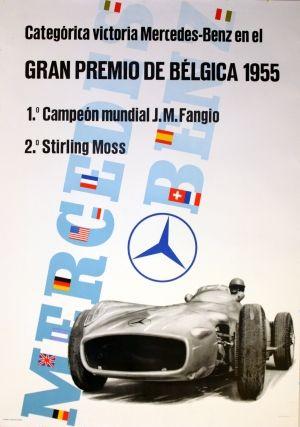 Mercedes Benz Belgium Grand Prix, 1955 - original vintage poster listed on AntikBar.co.uk