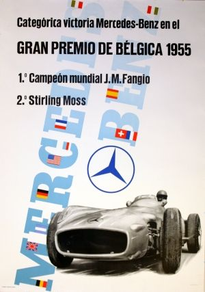 Mercedes Benz Belgium Grand Prix, 1955 - original vintage poster listed on AntikBar.co.uk