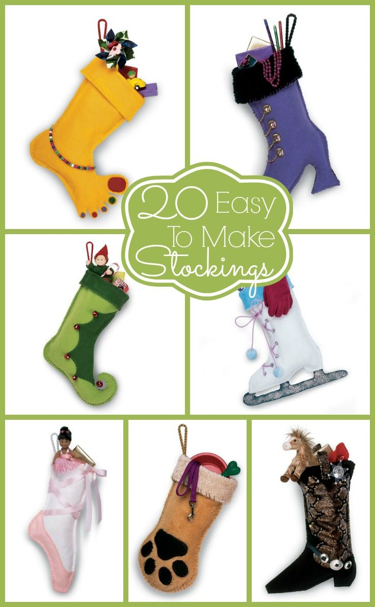 20 Stockings that are so easy even I could make them myself! #diy #stocking #christmas I want the paw one!