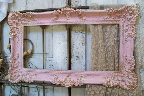 Shabby chic pink vintage frames and pink and gold on for How to make a large picture frame