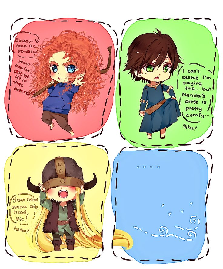 merida hiccup jack rapunzel | tangled Rapunzel brave derp merida httyd hiccup chibis jack frost rotg ...