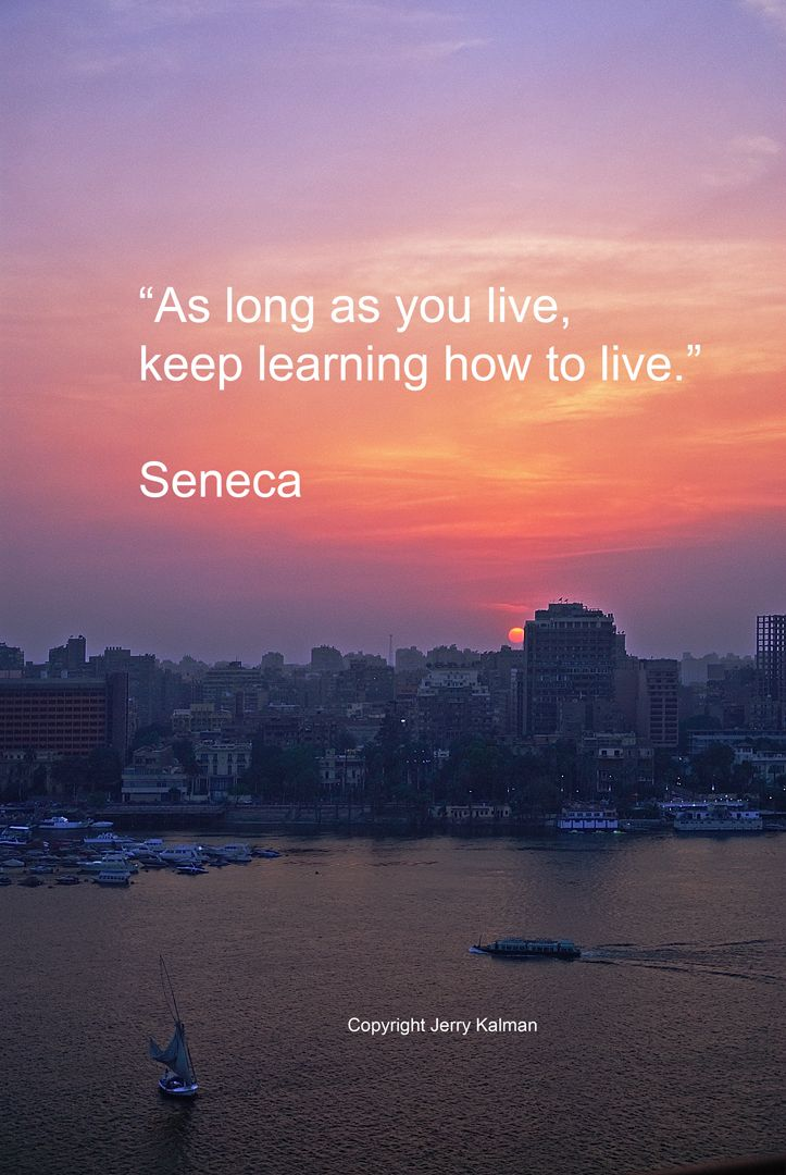 #Quotograph with a Seneca quote and a Cairo, Egypt sunset