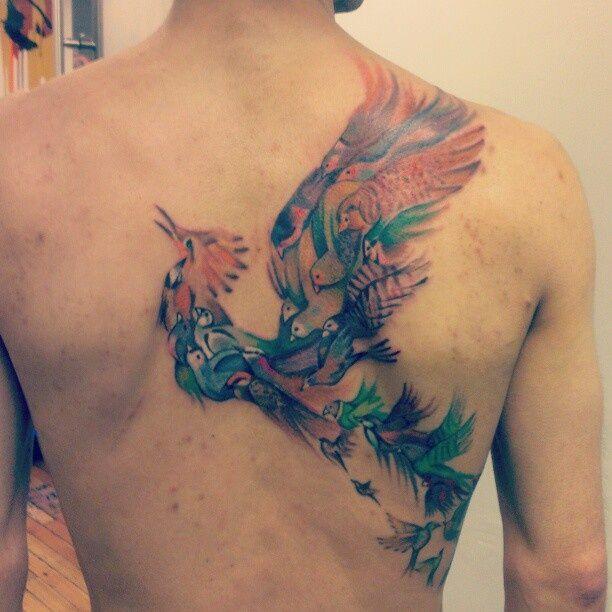 Beautiful Bird Tattoos | Beautiful birds back tattoo by Sarah | tattoos | Pinterest