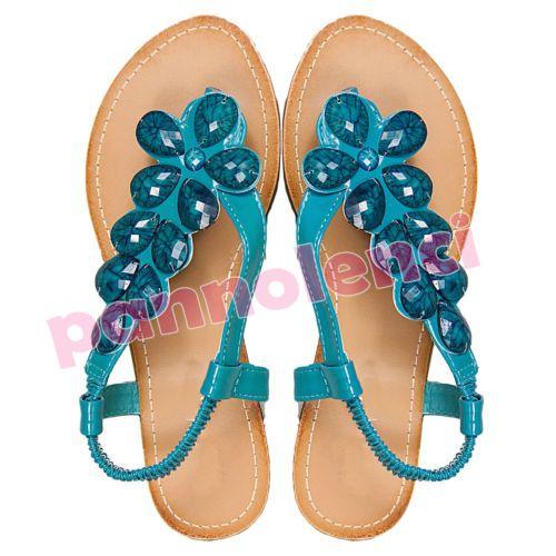 Scarpe donna sandali infradito bassi ciabatte ciabattine fiori PIETRE Y8833 | eBay