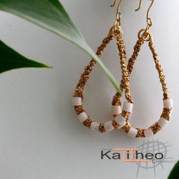 Macrame Earrings on wire.  Unique Tear Drop Hoop Earrings. a great addition to your day wear jewellery