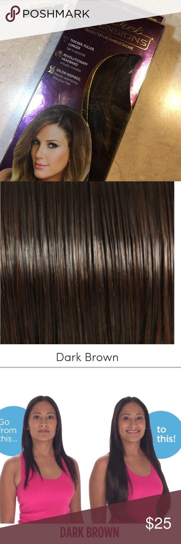 The 25 best headband hair extensions ideas on pinterest wedding nib dark brown 16 long secret extensions pmusecretfo Gallery