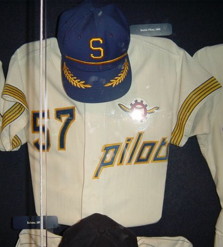 Seattle Pilots jersey and hat.