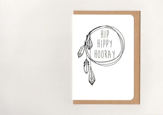 HIP HIPPY HOORAY . greeting card . art card . by ThePaisleyFive