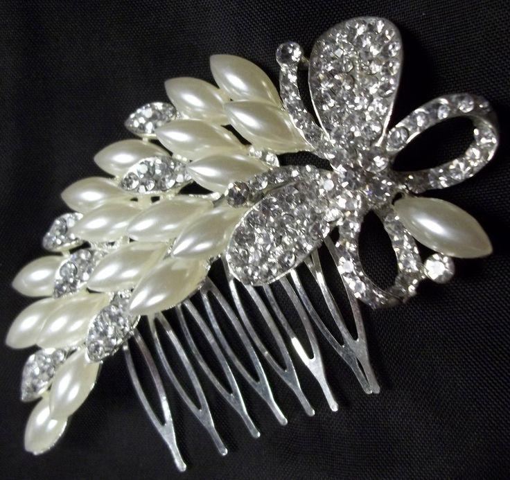 Costume Pearls & Rhinestone Hair Comb