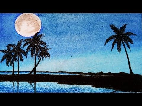 How to draw scenery of Moonlight with oil pastel.Step by step(easy draw) - YouTube