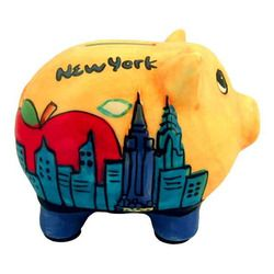 NYC Skyline Yellow Ceramic Piggy Bank