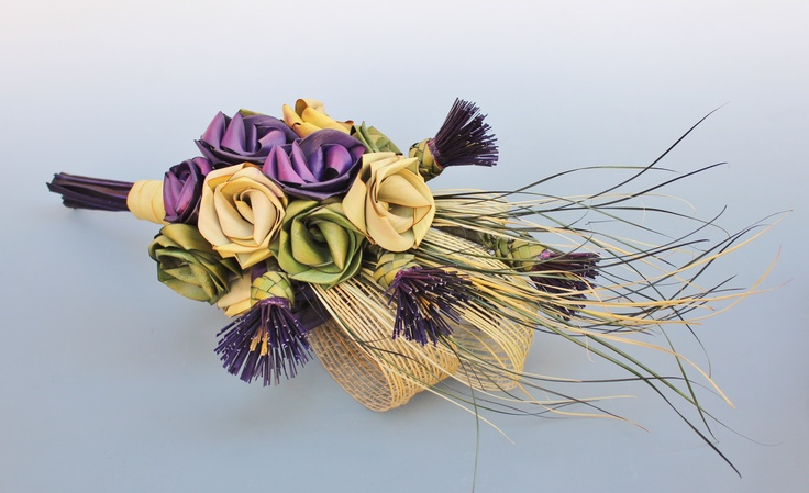 Thistle bouquet with roses.  www.flaxation.co.nz