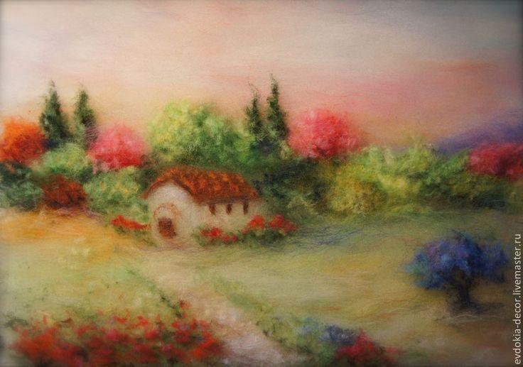 Купить Пейзаж - Краски лета! - пейзаж, Яркий пейзаж, пейзаж летний, пейзаж с домиком, на стену