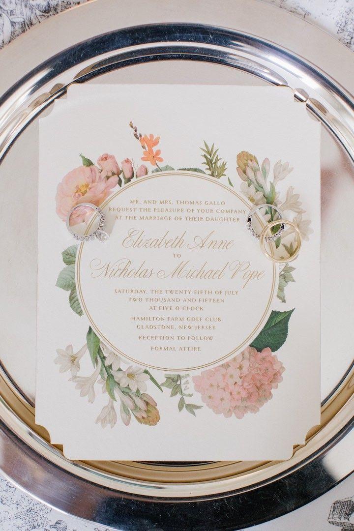 photo: Kelly Kollar Photography; chic floral wedding invitation