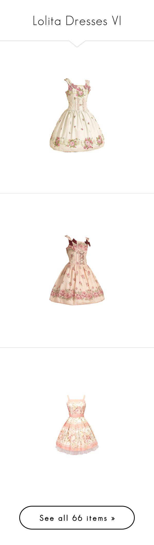 """Lolita Dresses VI"" by ck0427 ❤ liked on Polyvore featuring dresses, lolita, jsk, brown dress, vintage floral dress, vintage floral print dress, floral print dress, gothic dresses, vintage prom dresses and nude dress"