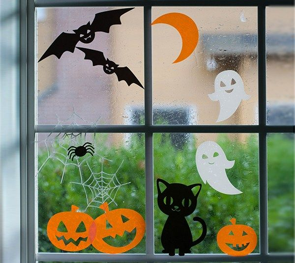check out the new projects to make using the cricut material sampler set halloween window clingshalloween window decorationshalloween