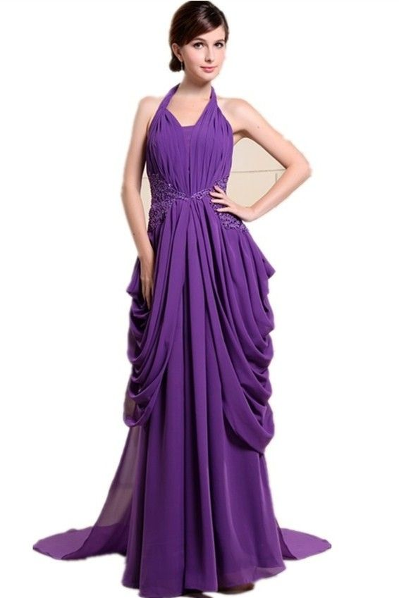 Graceful A Line Halter Beaded Liques Ruched Purple Chiffon Prom Evening Dress Bridesmaid Dresses