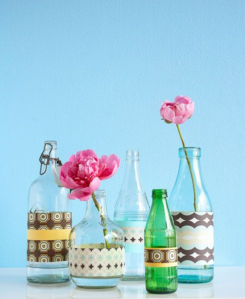 DIY bottle vases – Good Housekeeping - decorated with wrapping paper