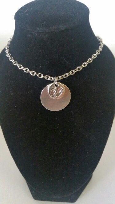 Engraving tag with baby feet charm. AUS $ 8.00