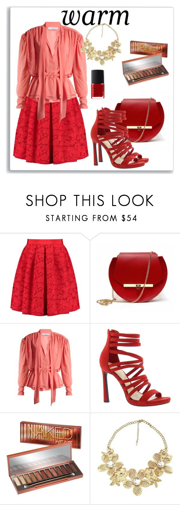 """""""warm summer outfit"""" by ornella-basso ❤ liked on Polyvore featuring Sandro, Angela Valentine Handbags, Balenciaga, Jessica Simpson, Urban Decay, Valentino, NARS Cosmetics, Summer, outfit and red"""