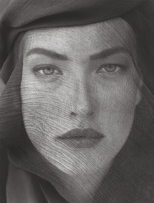 Herb Ritts  Tatjana, Veiled Head, Joshua Tree, 1988.  Supermodel Tatjana Patitz in Joshua Tree, California.