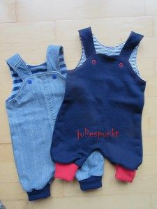 Strampelhosen aus alten Jeans und Stoffresten / Romper suits made from old jeans and scraps of fabric / Upcycling