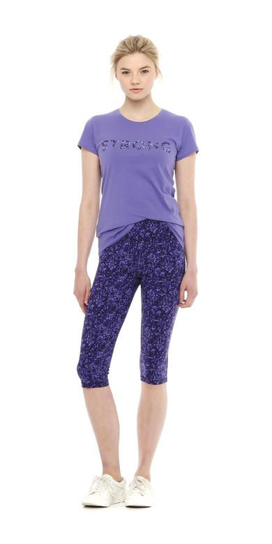 Text Yoga Tee from Joe Fresh. This tee is made extra long so you can stretch tall in comfort during your next yoga class. Only $12.