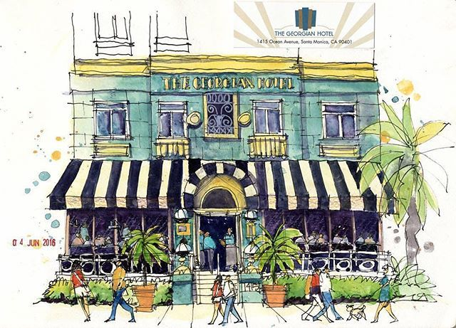 The Georgian Hotel, Santa Monica by @jrsketchbook #TravelSketch on #ArchiSketcher