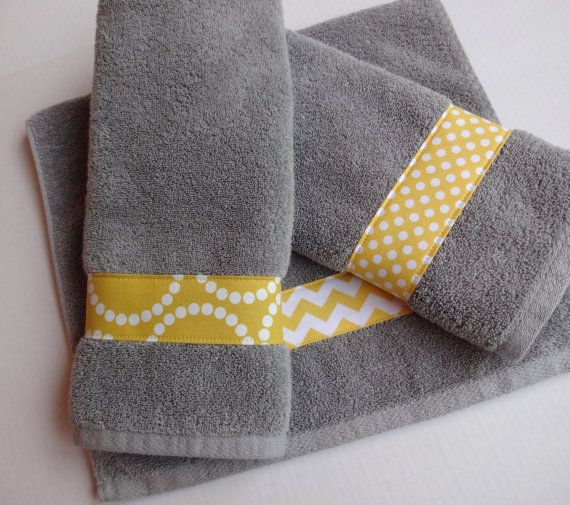 Set of 3 Yellow and Grey Towel set, hand towels, yellow and grey, chevron yellow, towels, bathroom decor, yellow grey bathroom, grey chevron...