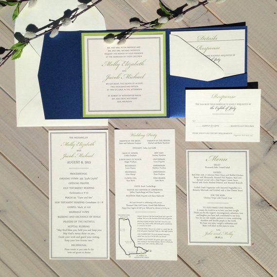 Navy and Lime Green Wedding Invitations, Navy and Green Wedding Invitations, Blue and Green Wedding Invitations
