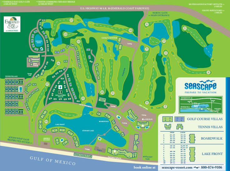 Destin Florida Seascape Resort Map. Seascape Resort is located just a few miles East of Destin Florida. This is a complete Destin Florida map of Seascape Resort